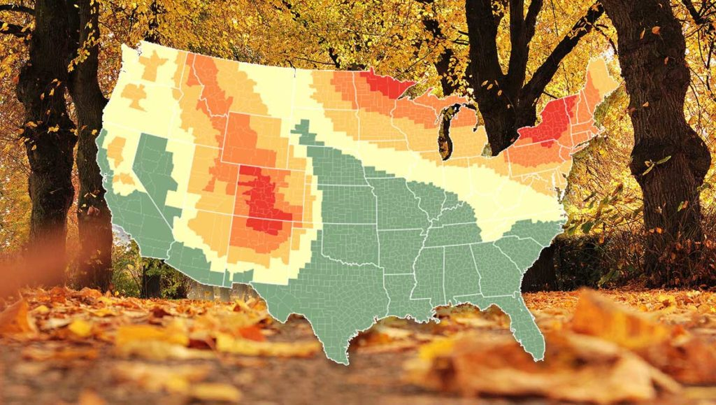 Autumn 2018: Predictions, Maps & Fall Webcams US-The leaves are turning.
